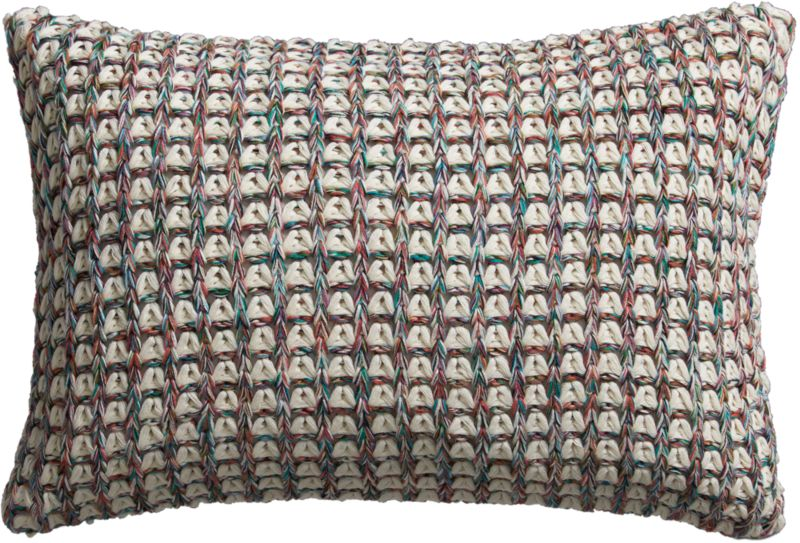 "loop knit 18""x12"" pillow with down-alternative insert"
