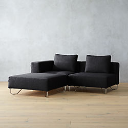lotus 3-piece grey sectional sofa
