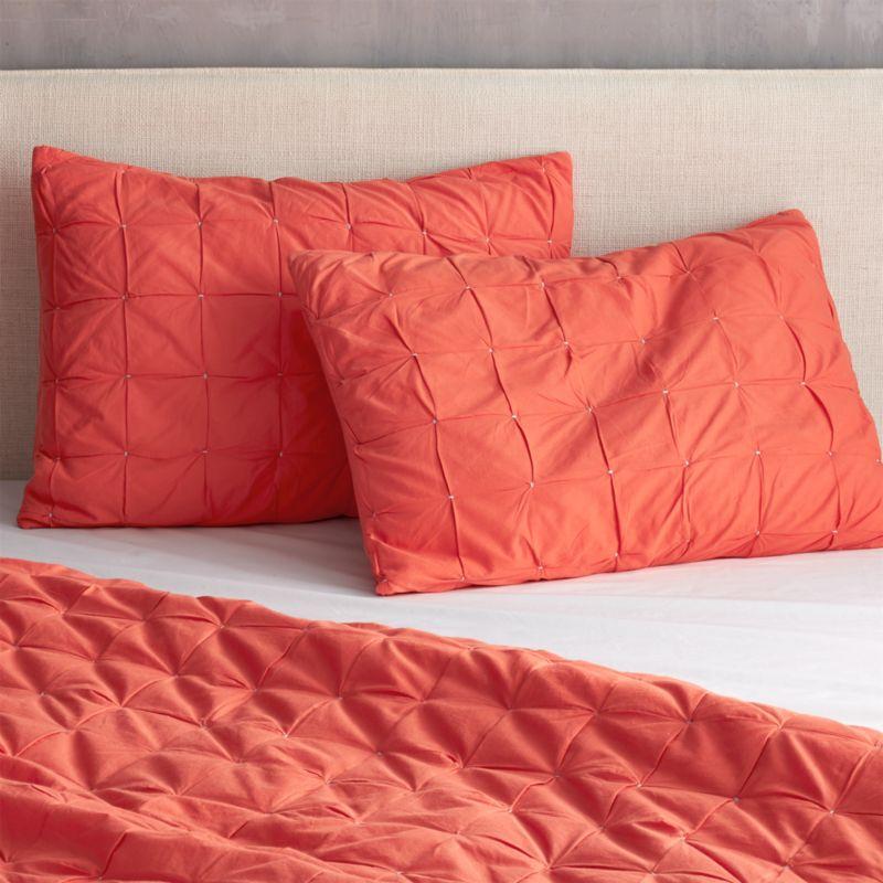 set of 2 standard mahalo red-orange quilt shams