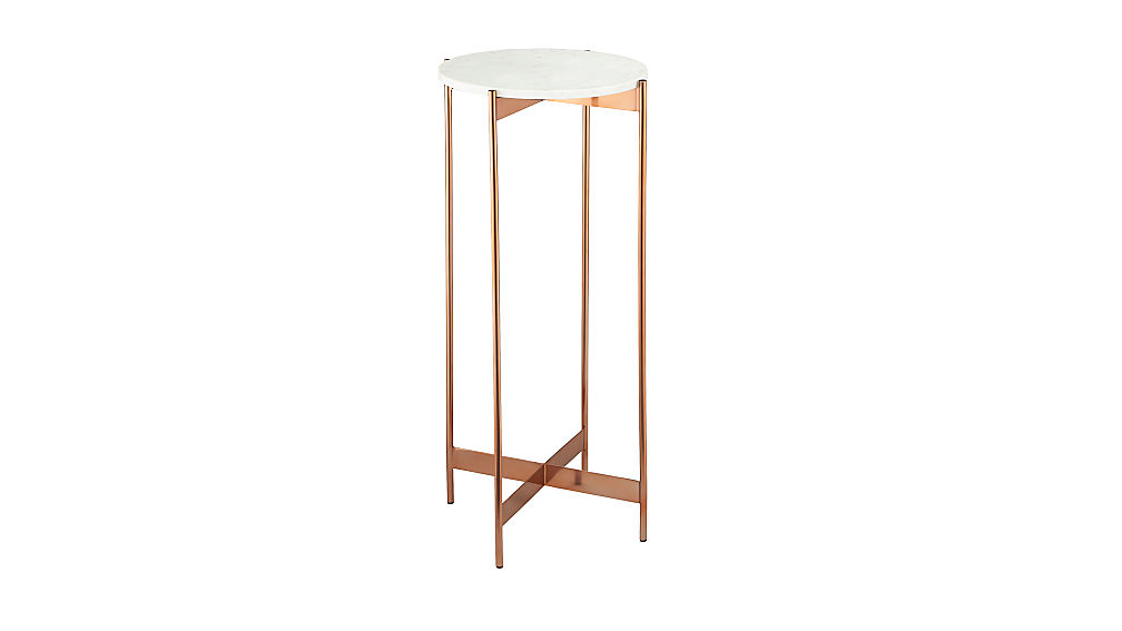 Marble rose Gold Tall Pedestal Table CB2