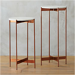 marble-rose gold pedestal tables