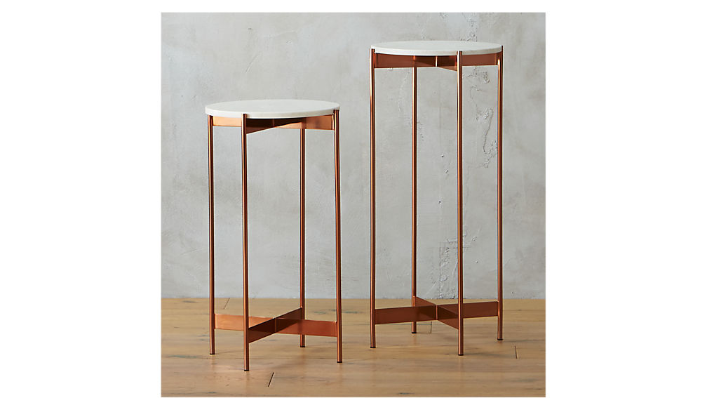 Marble rose Gold Small Pedestal Table CB2