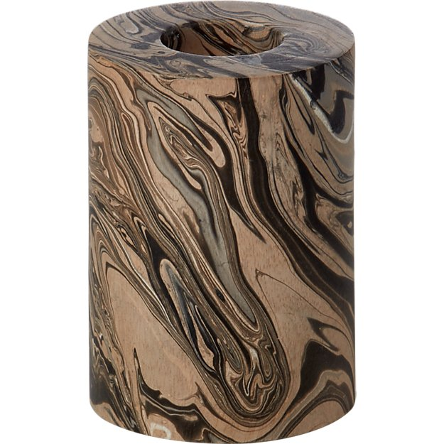 marbleized wood tea light candle holder