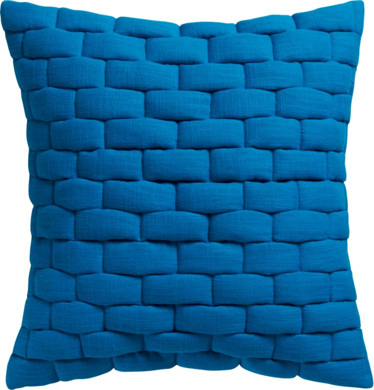 "mason quilted blue 18"" pillow with feather-down insert"