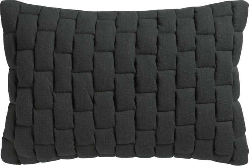 "mason quilted carbon 18""x12"" pillow with feather-down insert"