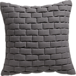 "mason quilted grey 18"" pillow with feather-down insert"