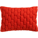 "mason quilted red orange 18""x12"" pillow with feather-down insert"