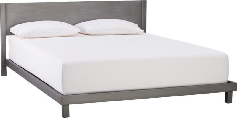 """<span class=""""copyHeader"""">sleek dreams.</span> This is the stuff dreams are made of. From the creative minds at Barcelona-based Mermelada Estudio, linear design takes a shine to modern metal. The designers drew inspiration from skyscrapers and metal structures, which """"gives this bed a vintage, industrial touch and makes it strong and solid, while comfortable."""" Sleeps sleek in iron, which is handpainted, then powdercoated to achieve a brushed finish with rich dimension. Low-profile minimalist frame is finished all the way around so it can float in the room. Mattresses sold separately.<br /><br /><NEWTAG/><ul><li>Designed by Mermelada Estudio</li><li>Handpainted, then powdercoated</li><li>Folded iron sheet and iron tube</li><li>26-slat support system</li><li>Finished back can float in room</li><li>For use with mattress only, sold separately</li></ul>"""