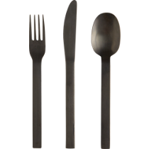 3-piece matte black flatware set