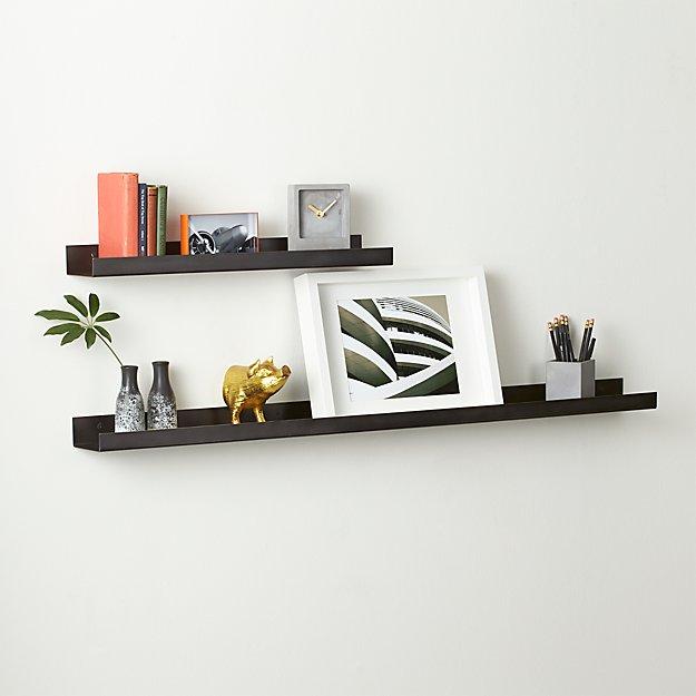 metal gunmetal wall shelves