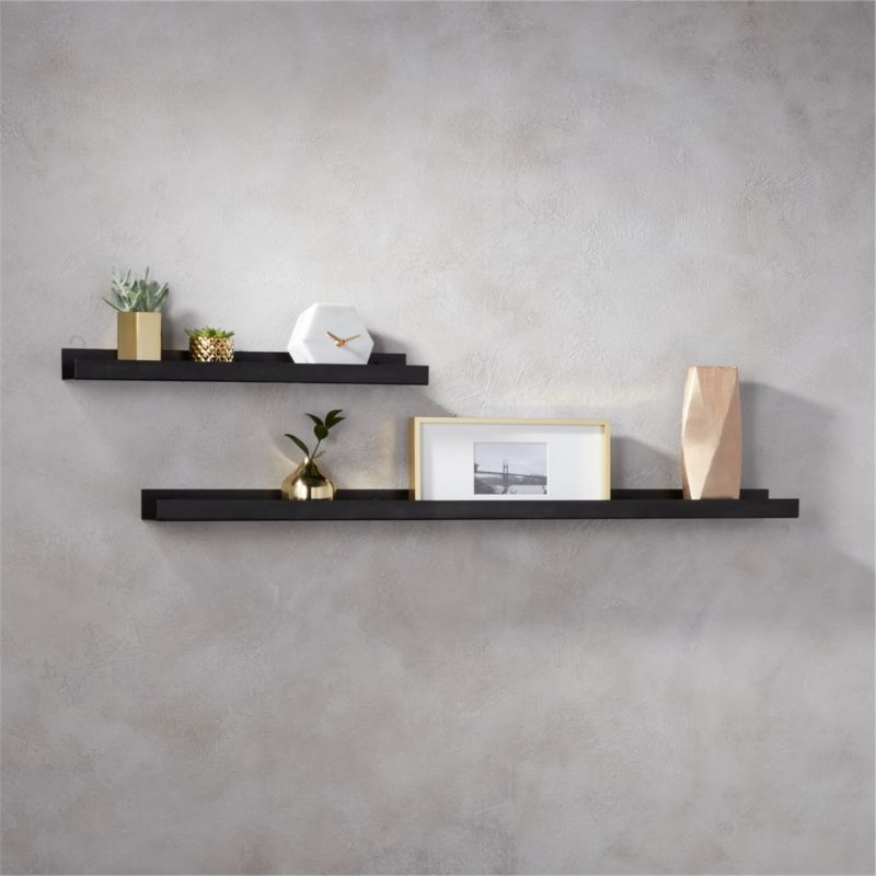 metal gunmetal wall shelves cb2. Black Bedroom Furniture Sets. Home Design Ideas