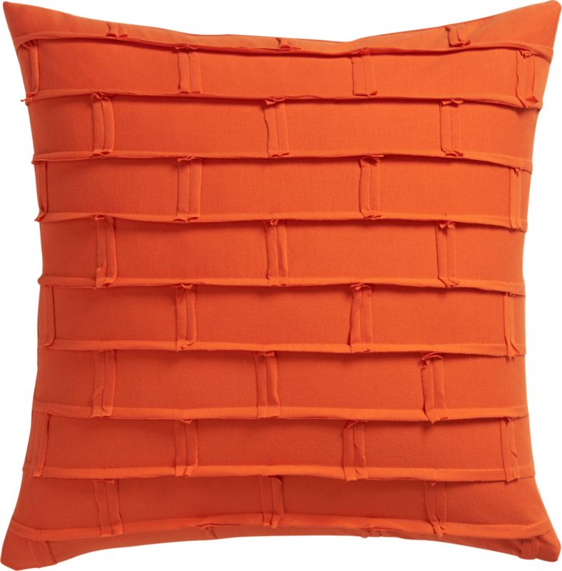 "metro orange 20"" pillow with feather insert"
