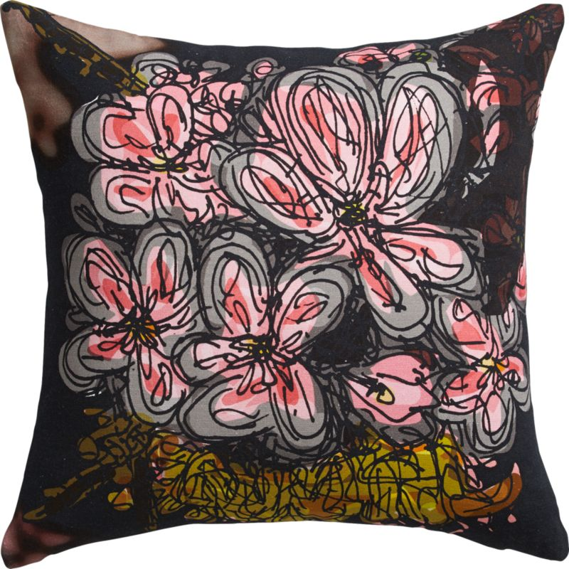 "midnight flower 18"" pillow with feather-down insert"