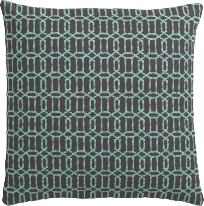 "mingle aqua-shadow 18"" pillow with feather-down insert"