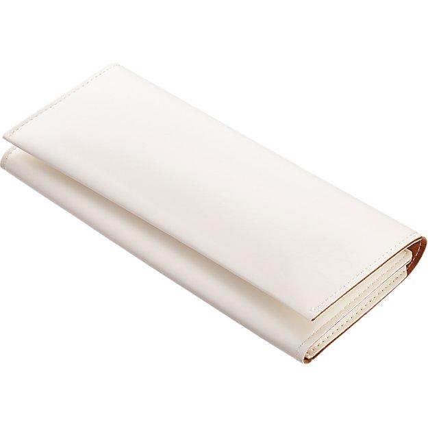 minimalist white travel wallet