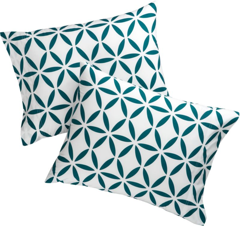 set of 2 standard mod moroccan swoon blue shams