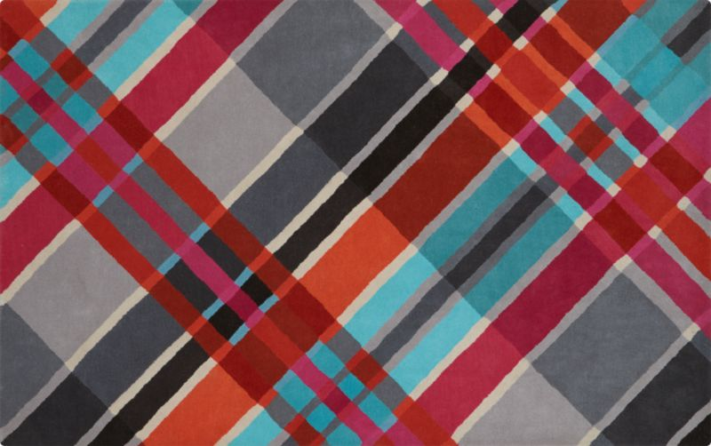 modern plaid rug 5'x8'