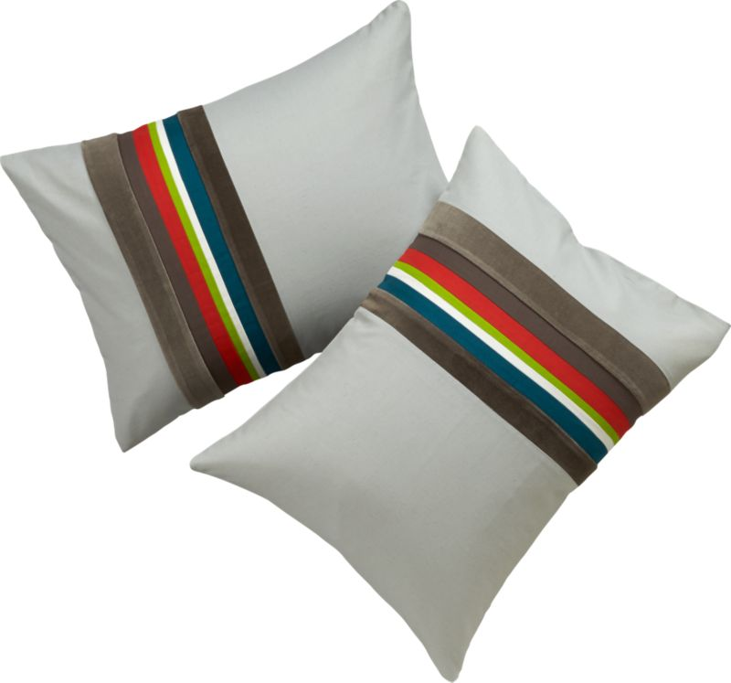 """<span class=""""copyHeader"""">borderline.</span> Laid-back luxe falls in line with textured bands of rich, warm neutrals. In an asymmetrical sweep, thick velvety stripes of dark and light grey border a bright spectrum of dark grey velvet, blue green cotton, white, sour apple, orange, dark brown and light grey velvet on natural. 200-thread-count cotton/linen matching shams are finished neat with envelope closure. Reverse to solid natural.<br /><br /><NEWTAG/><ul><li>Cotton/linen blend in natural</li><li>200 thread count</li><li>Shams have envelope closure</li><li>Reverses to solid natural</li><li>Machine wash</li></ul>"""