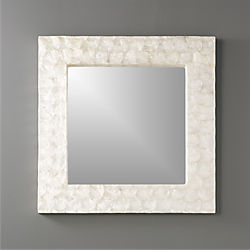 "24"" square mother of pearl wall mirror"