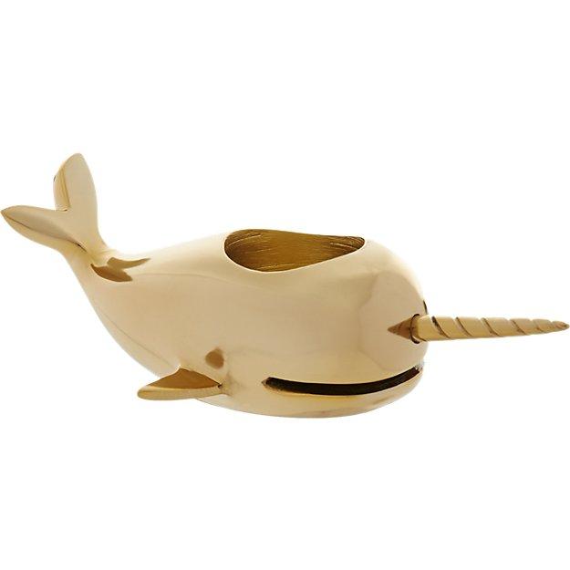 narwhal tea light candle holder