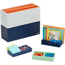 Poppin ® navy organizers and mint this that tray