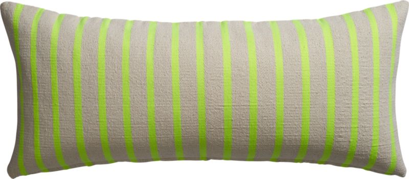 "neon stripe on natural 36""x16"" pillow with feather-down insert"