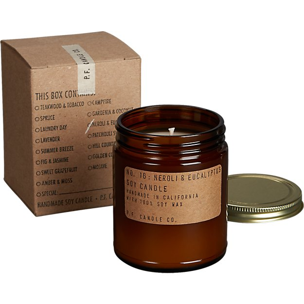 neroli and eucalyptus soy candle