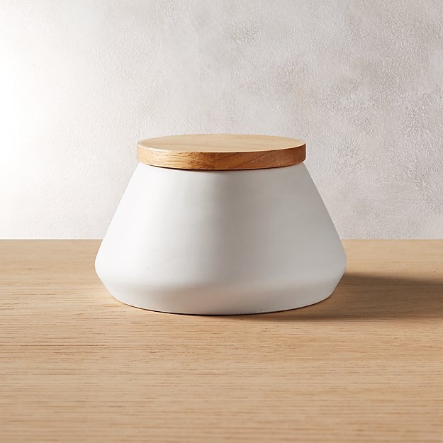 neutral small white canister