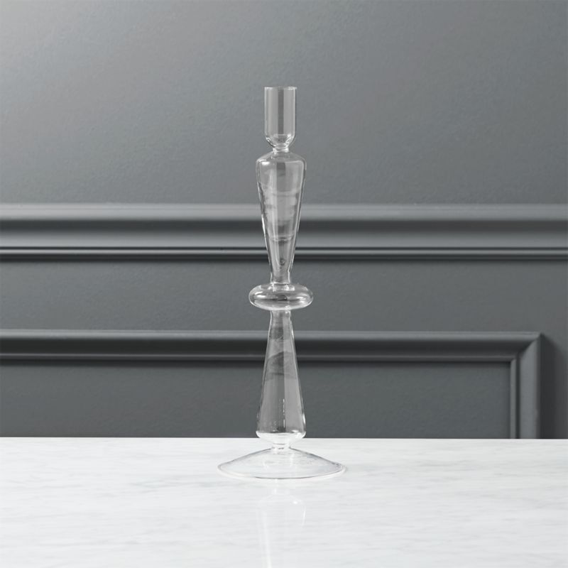 """<span class=""""copyHeader"""">rings of fire.</span> Delicately handblown and heat-tempered strong in clear chem lab beaker glass. Sculptural stacked discs ascend candlelight as modern heirlooms in a light-as-a-feather style.<br /><br /><NEWTAG/><ul><li>Handmade from borosilicate (""""beaker"""") glass</li><li>Heat-tempered</li><li>Accommodates one taper candle, sold separately</li><li>Do not burn candle to the very end</li></ul>"""