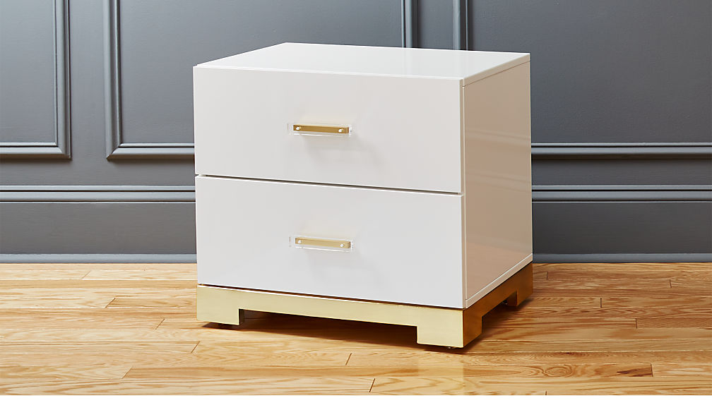 odessa white gloss nightstand cb2 bedroom furniture