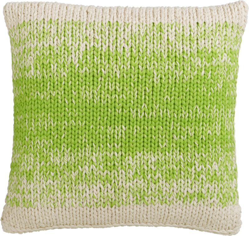 "ombre green knit 20"" pillow with feather-down insert"