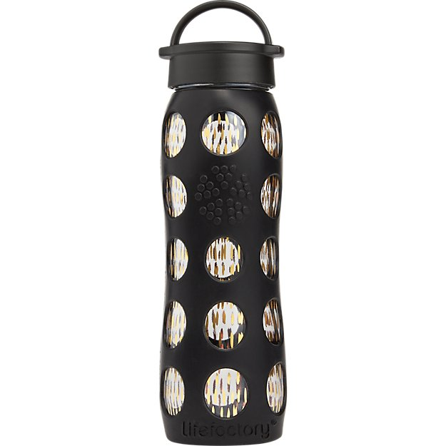 onyx black and gold glass water bottle