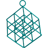 open wire teal cube ornament