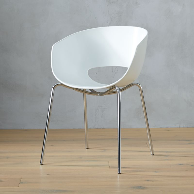 Orbit White Arm Chair Cb2