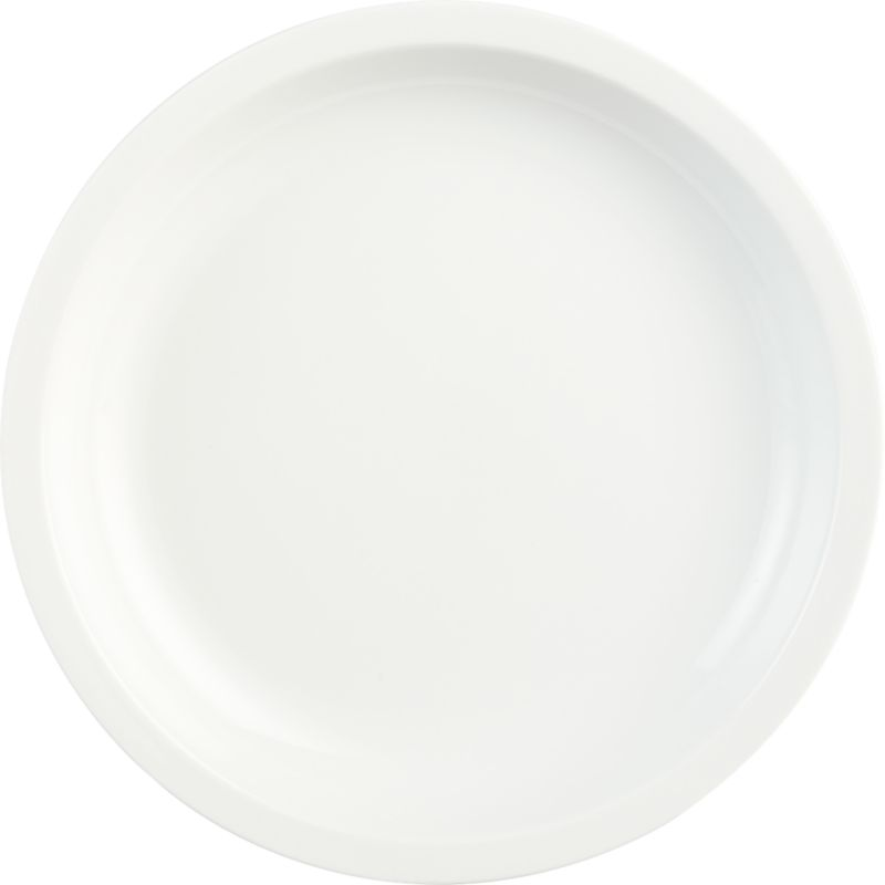 "<span class=""copyHeader"">slim rim.</span> Minimal flat rim skims the edge of clean white porcelain round. Sides slope to dish generously.<br /><br /><NEWTAG/><ul><li>Porcelain dipped in white glaze</li><li>Dishwasher- and microwave-safe</li></ul>"