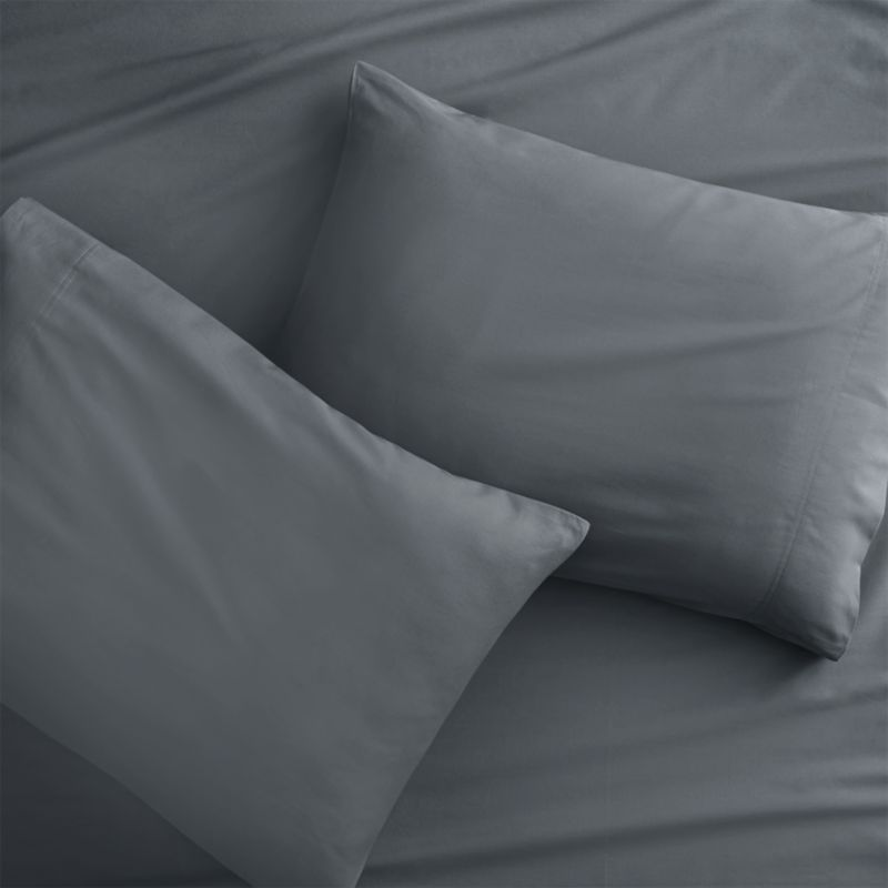 """<span class=""""copyHeader"""">green dreams.</span> No pesticides, no chemicals, no preservatives. Just GOTS-certified 100% organic cotton, inks and dyes in zen neutral grey 250-thread-count percale. Set includes two cases with clean envelope closures and double-stitch detail.<br /><br /><NEWTAG/><ul><li>100% GOTS-certified organic cotton, inks and dyes</li><li>250 thread count</li><li>Machine wash</li></ul>"""