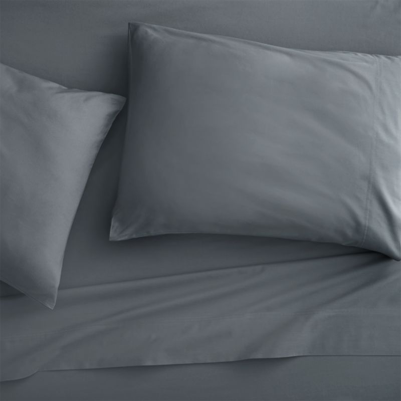 queen organic grey percale sheet set