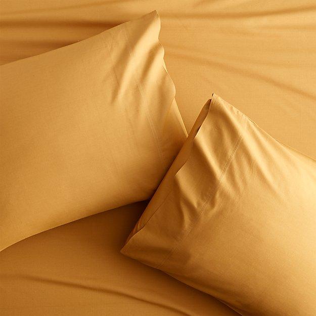 set of 2 organic camel hair percale king pillowcases