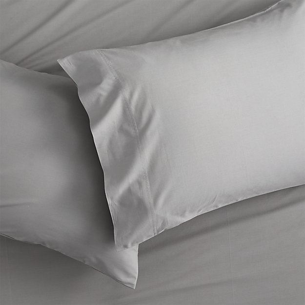 set of 2 standard organic cement percale pillowcases