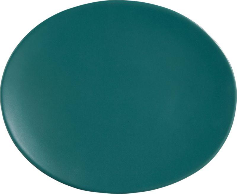 oval blue-green dinner plate