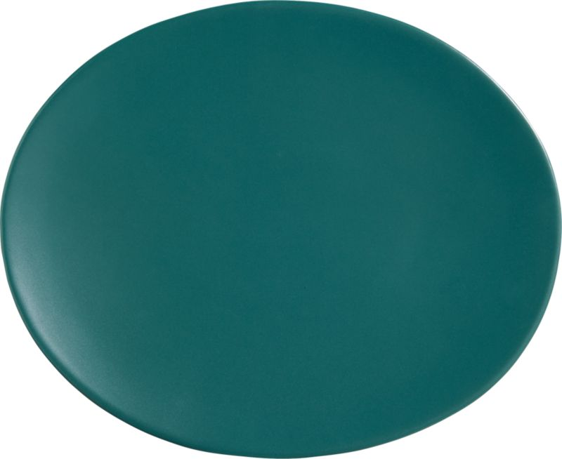 oval blue-green dinner plate
