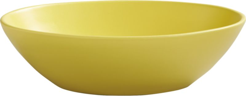 "<span class=""copyHeader"">palette for the palate.</span> Bright yellow bowl brings a fresh perspective to the table, handmade of earthenware with modern matte glaze. Layer with oval blue-green dinner plate and oval aqua salad plate for a new color story.<br /><br /><NEWTAG/><ul><li>Handmade</li><li>Earthenware</li><li>Matte yellow glaze</li><li>Dishwasher- and microwave-safe</li></ul>"