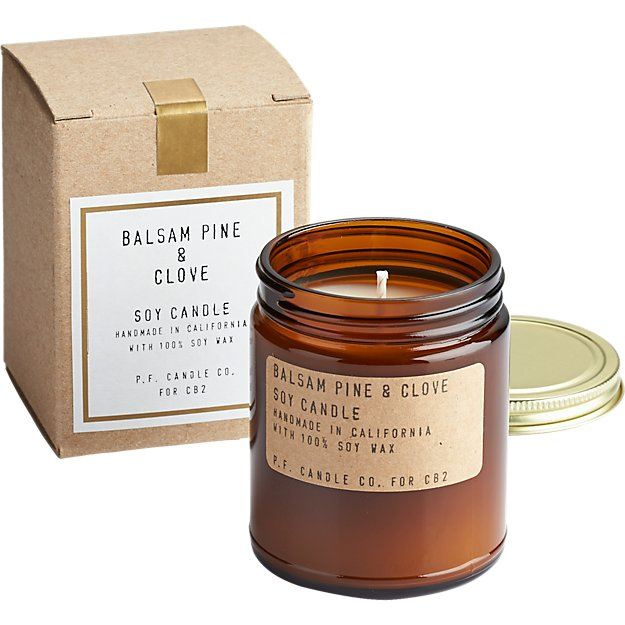 balsam pine and clove soy candle