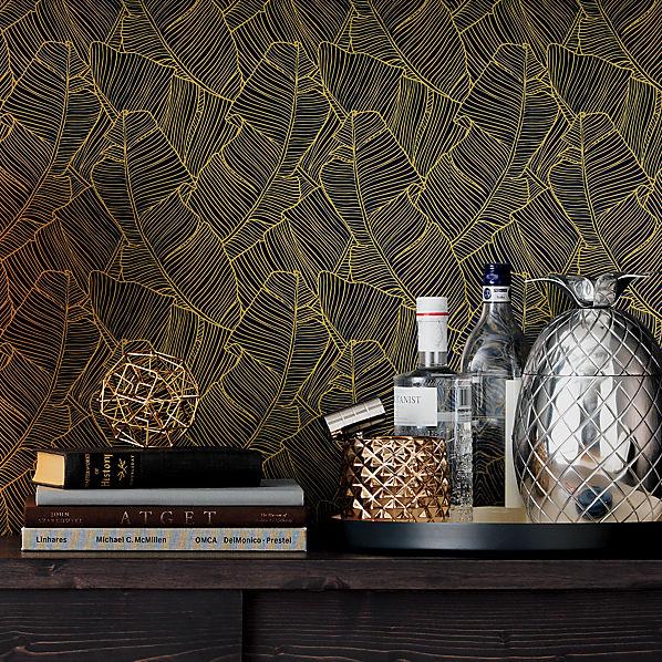 Palm navy and gold self adhesive wallpaper cb2 - Navy gold wallpaper ...