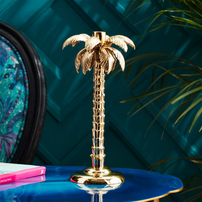 Palm Tree Gold Taper Candle Holder Cb2