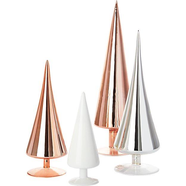 4-piece metallic and white paz tree set