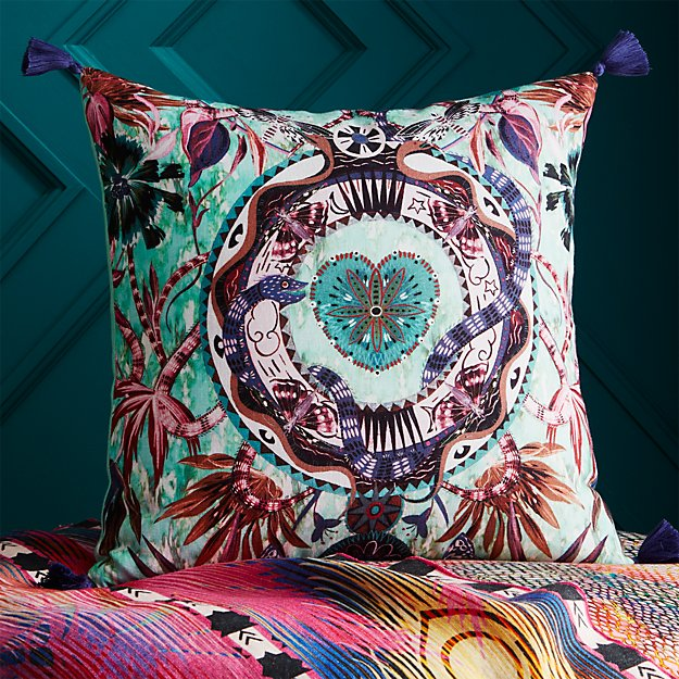 """peacock hearts with tassels 18"""" pillow"""