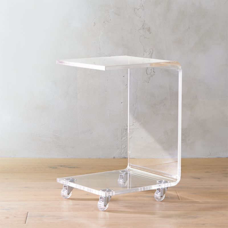 Peekaboo acrylic c table cb2 for How to make lucite furniture
