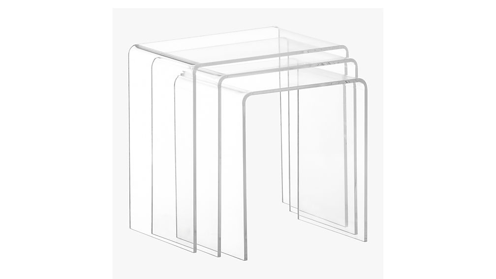 3-piece peekaboo acrylic nesting table set  CB2