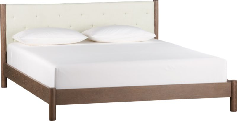 peg leg taupe queen bed